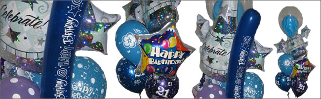 Giant helium balloon bouquet themed to blue