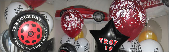 Giant red car balloon bouquet - 18th birthday party