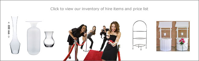 Party hire price guide and inventory